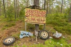 Погост автомобиля подписывает внутри Smaland Стоковые Фото