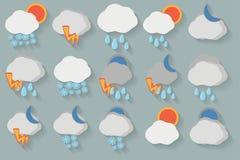 погода иконы установленная Стоковое фото RF