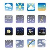 погода иконы установленная Стоковые Изображения RF