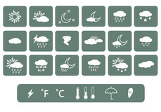 погода солнца дождя икон облака вектор иллюстрация вектора