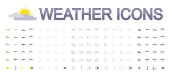 погода солнца дождя икон облака плоско иллюстрация вектора
