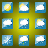 погода солнца дождя икон облака Стоковая Фотография RF