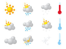 погода солнца дождя икон облака Стоковые Изображения