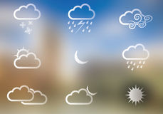 погода солнца дождя икон облака Стоковое Изображение RF