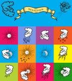 погода установленная иконами Стоковая Фотография