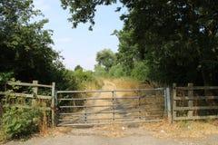 Пограничный забор водя к сельскому следу стоковая фотография