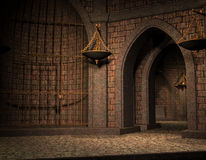 погреб клетки замока предпосылки старый Стоковые Фото