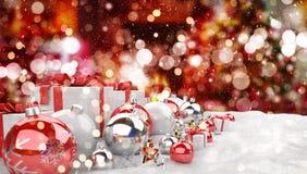 Подарки и безделушки красного и белого рождества выровнялись вверх по переводу 3D Стоковые Изображения