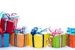 подарки коробки цветастые Стоковая Фотография RF