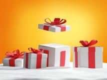 Подарки на рождество в снеге 3d-illustration Бесплатная Иллюстрация