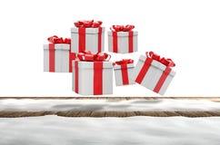 Подарки на рождество идут снег деревянная предпосылка 3d-illustration пола иллюстрация вектора