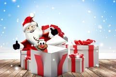 Подарки на рождество и Санта Клаус с предпосылкой северного оленя 3d-illustration иллюстрация вектора