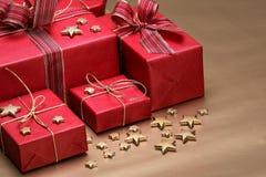 подарки на рождество красные Стоковые Изображения