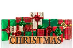 подарки на рождество предпосылки белые Стоковое Фото