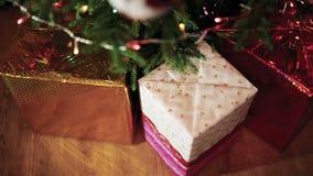 Подарки под рождественской елкой видеоматериал