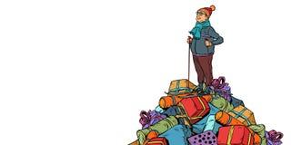 Подарки покупок продажи рождества человек средн-достигший возраста лыжником, изолирует дальше бесплатная иллюстрация