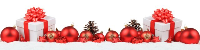 Подарки рождества представляют iso зимы снега украшения знамени шариков Стоковая Фотография