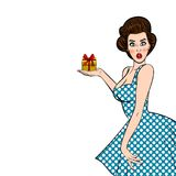 Подарок владением женщины брюнет искусства шипучки винтажный иллюстрация штока