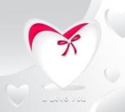 Подарок в сердце формы белом и с красной перлой смычка иллюстрация штока
