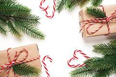 Подарок, дерево и орнамент рождества на белой предпосылке Стоковая Фотография RF