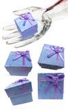 подарок дисплея собрания голубых коробок Стоковые Изображения