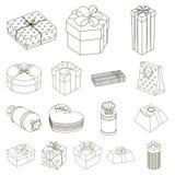 Подарок и упаковка конспектируют значки в собрании комплекта для дизайна Красочная иллюстрация сети запаса символа вектора упаков иллюстрация штока