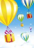 подарок коробок воздушных шаров горячий бесплатная иллюстрация