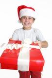 подарок на рождество мальчика стоковая фотография rf