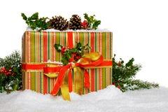 Подарок на рождество с падубом на белизне Стоковые Фотографии RF