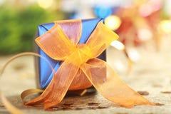 подарок рождества голубой коробки Стоковые Изображения RF