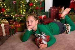 Подарок рождества для девушки Стоковая Фотография