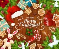 Подарок рождества и настоящие моменты Нового Года поздравительная открытка бесплатная иллюстрация