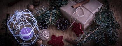 Подарок рождества и украшение рождества в винтажном стиле Стоковое Изображение