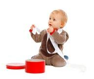 подарок рождества коробки младенца любознательний милый открытый Стоковые Изображения