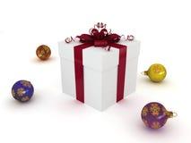 подарок рождества коробки шариков Стоковое Изображение RF