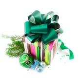 подарок рождества коробок шариков стоковое изображение rf