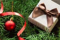 Подарок рождества на ветвях ели стоковая фотография