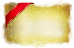 Подарок рождества с красной тесемкой Стоковые Изображения