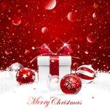 Подарок рождества с шариками Стоковые Изображения