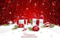 Подарок рождества с шариками иллюстрация штока