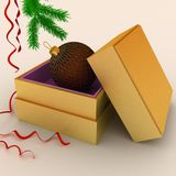 Подарок рождества с fir-tree ветви Стоковые Изображения