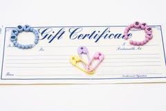 подарок сертификата младенца Стоковые Изображения RF