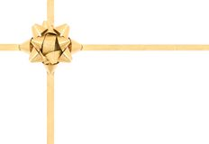 подарок смычка золотистый Стоковое фото RF