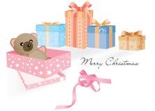 Подарок с плюшевым медвежонком и другими подарками иллюстрация штока