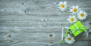 Подарочная коробка и маргаритка цветут на старых деревянных планках стоковое фото rf