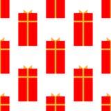 Подарочная коробка со значком ленты плоским, знаком вектора, изолированным на белизне Безшовная картина праздника бесплатная иллюстрация