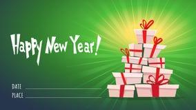 Подарочная коробка с лентой и уставшим смычком, много коробок подарков и оформление гирлянды представляет желания стог, часть кар иллюстрация штока