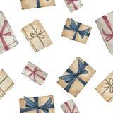 Подарочные коробки в оболочке в красных, коричневых и голубых лентах на белой предпосылке иллюстрация вектора