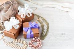 Подарочные коробки для торжества Стоковая Фотография
