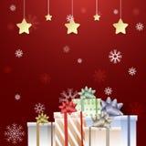 Подарочные коробки и рождество снежинки веселое, С Новым Годом! иллюстрация штока